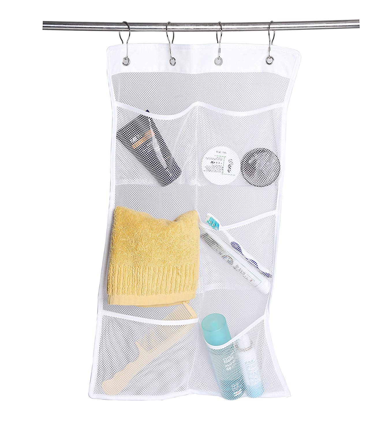 Bath Mesh Organizer With 6 Pockets.okroo Shower Hanging Organizer.Perfect For Bathroom Accessoires, Bath Toy Storage,Camping,Trip (4 Rings and 2 Suction Cups Included)