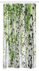 "Ambesonne Woodland Stall Shower Curtain, Birch Trees in The Forest Summertime Wildlife Nature Outdoors Themed Picture, Fabric Bathroom Decor Set with Hooks, 36"" X 72"", White Green"