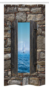 "Ambesonne Nautical Stall Shower Curtain, Image of a Sailing Boat from Stone Window Narrow Perspective Idyllic Mediterranean, Fabric Bathroom Decor Set with Hooks, 36"" X 72"", Turquoise Brown"