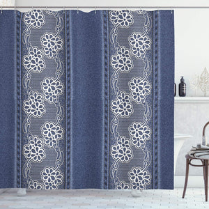 Ambesonne Floral Shower Curtain by, Blue Jeans Background with White Flower Motifs Pattern Denim Themed Digital Print, Fabric Bathroom Decor Set with Hooks, 75 Inches Long, Blue White