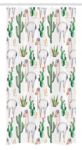 "Ambesonne Cactus Stall Shower Curtain, Hot South Desert Plant Cactus Pattern with Camel Animal Modern Colored Image Print, Fabric Bathroom Decor Set with Hooks, 36"" X 72"", White Green"