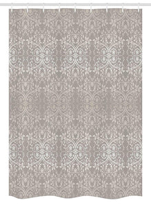 Ambesonne Grey Stall Shower Curtain, Victorian Lace Flowers and Leaves Retro Background Old Fashioned Graphic Print, Fabric Bathroom Decor Set with Hooks, 54 W x 78 L Inches, Warm Taupe Beige