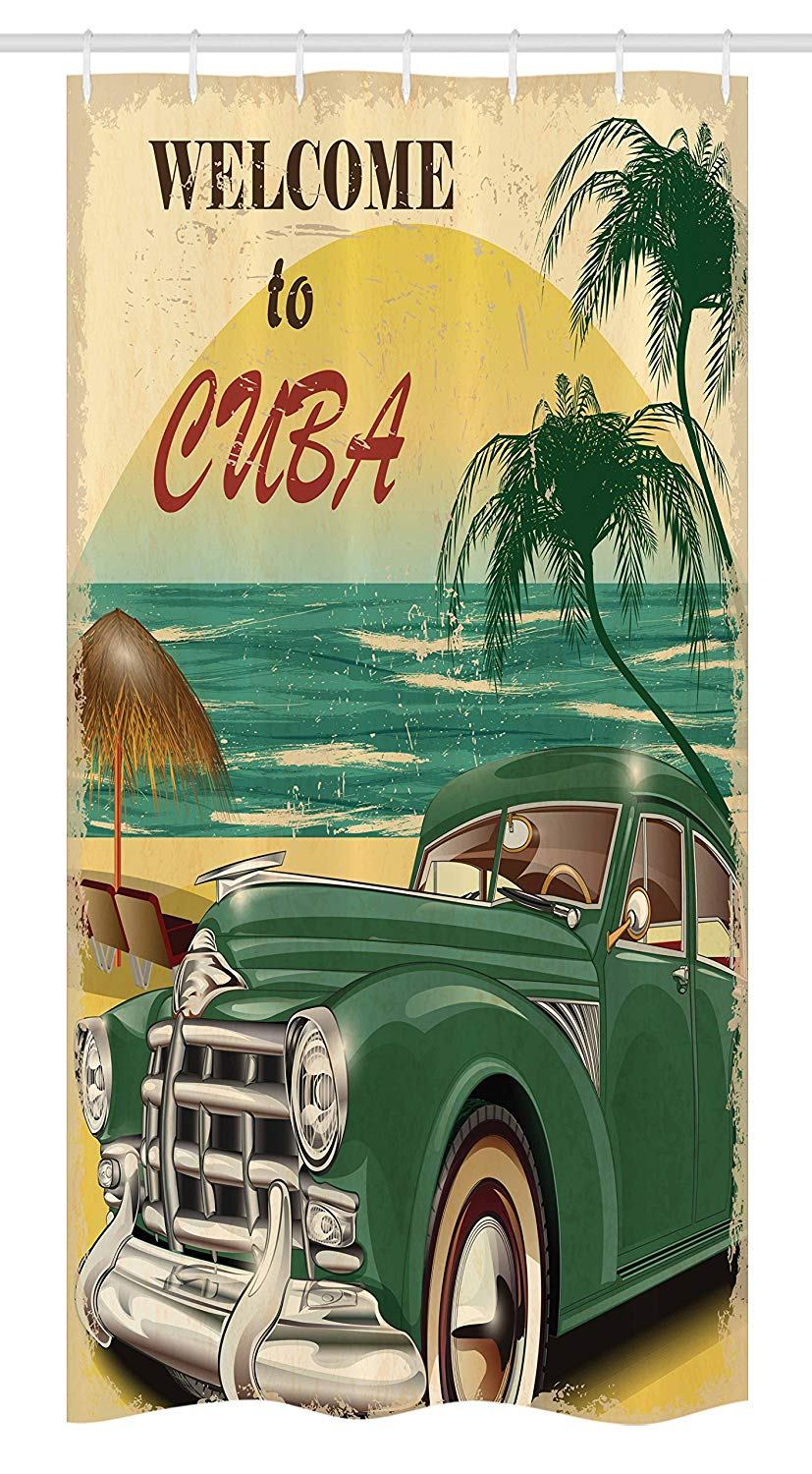 Ambesonne Retro Stall Shower Curtain, Nostalgic Welcome to Cuba Artsy Print with Classic Car Beach Ocean Palm Trees, Fabric Bathroom Decor Set with Hooks, 36 W x 72 L inches, Green Cream Yellow