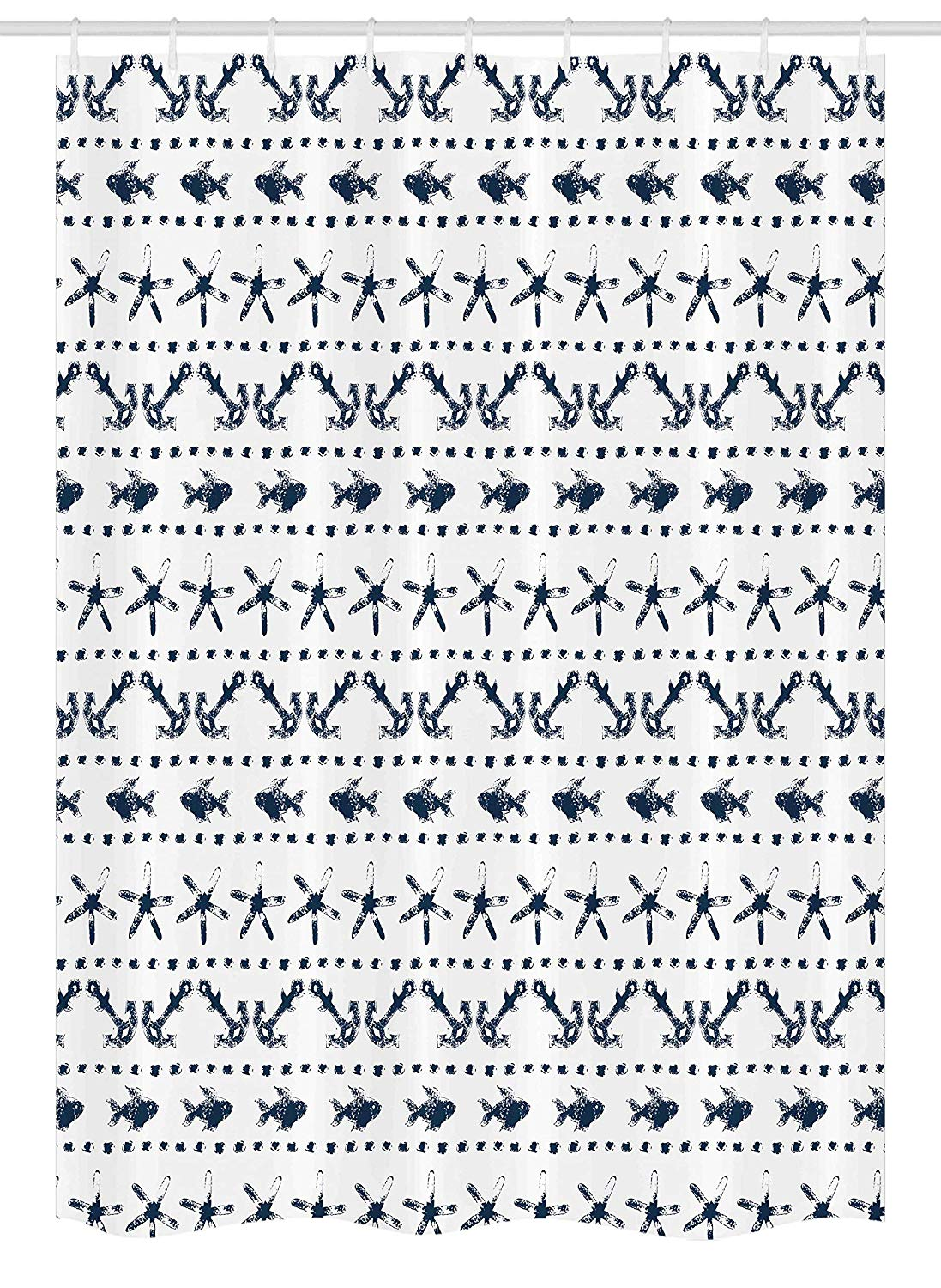 "Ambesonne Navy Blue Stall Shower Curtain, Navy Yatch Themed Design with Fish Starfish and Anchor Nautical Marine Print, Fabric Bathroom Decor Set with Hooks, 54"" X 78"", Navy and White"