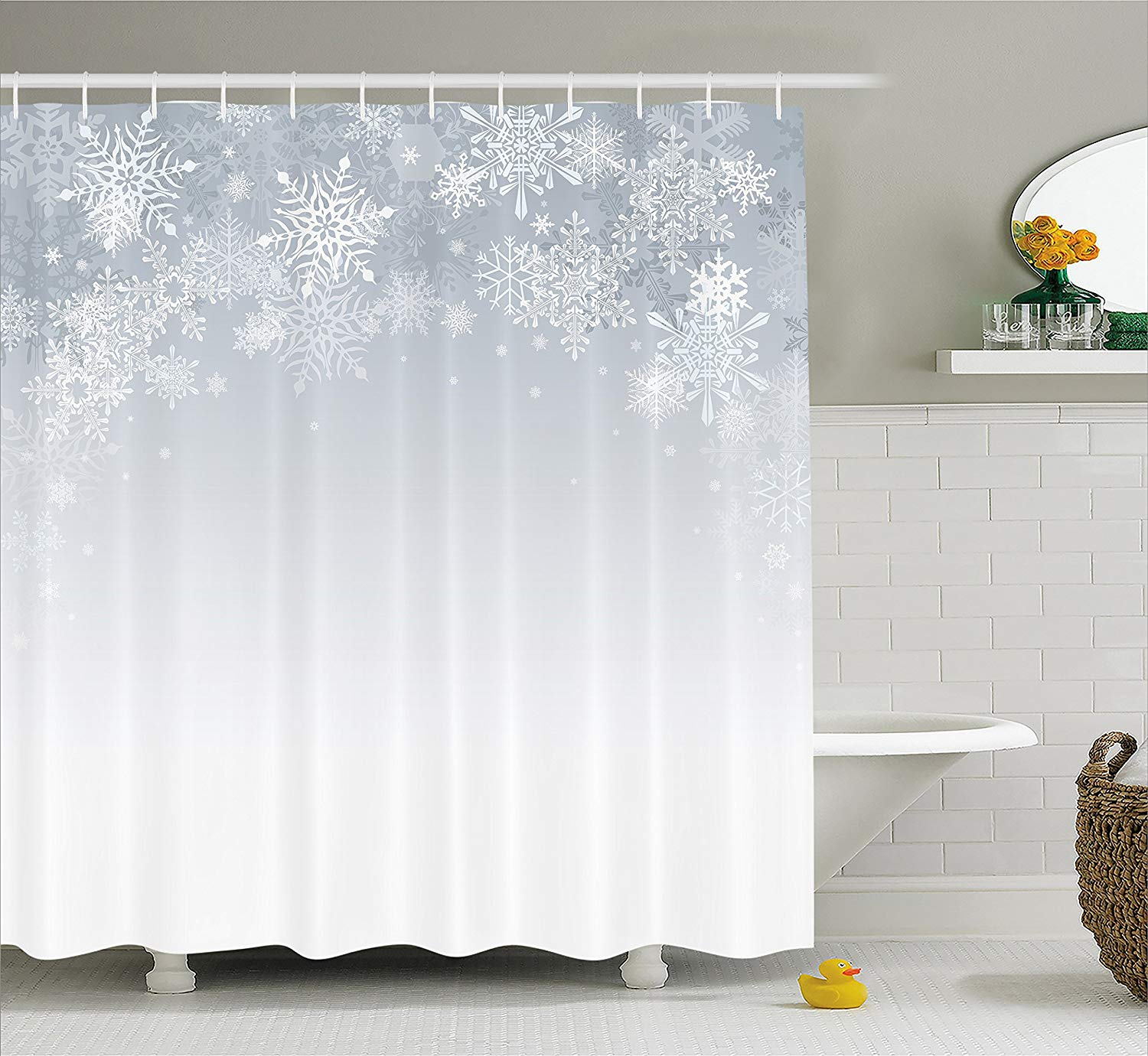 "Ambesonne Winter Shower Curtain, Christmas Background with Snowflake Shapes Ornamental Design on Plain Backdrop, Cloth Fabric Bathroom Decor Set with Hooks, 70"" Long, Blue Grey"