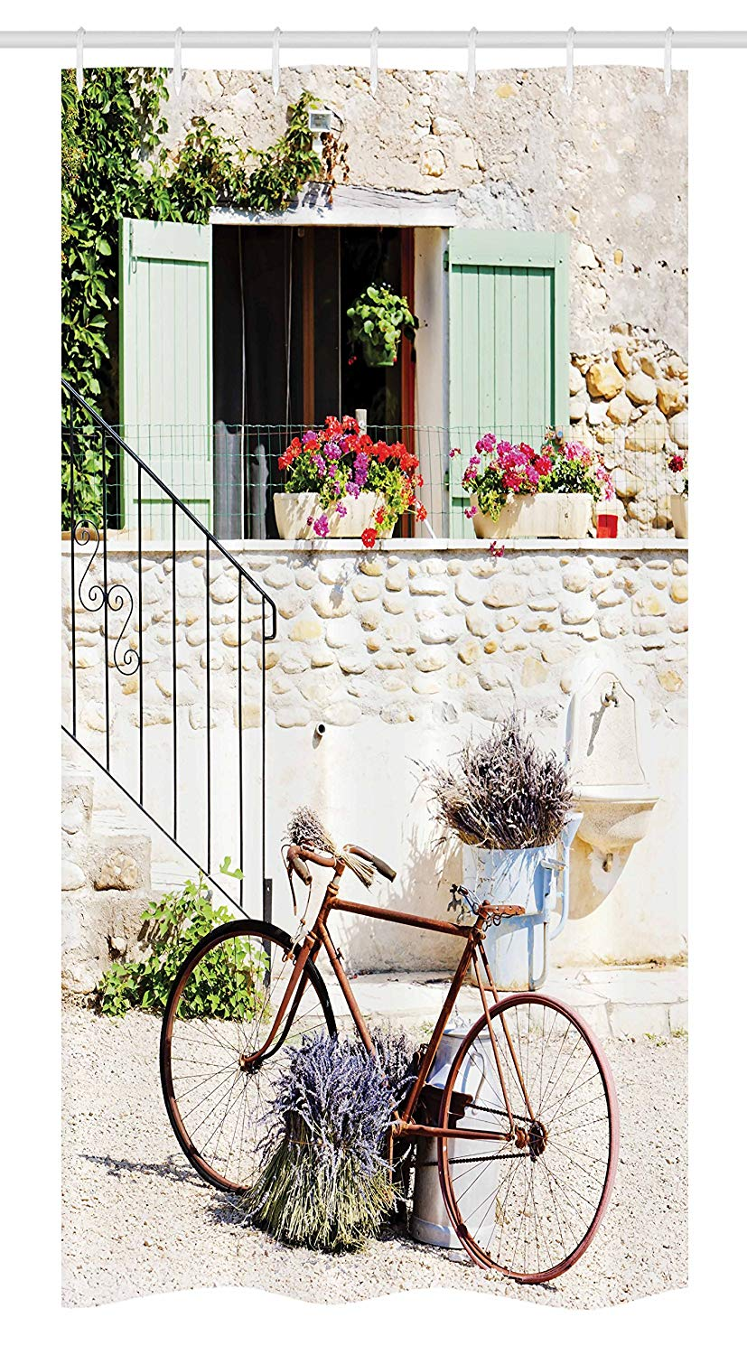 "Ambesonne Bicycle Stall Shower Curtain, European French Mediterranean Rural Stone House with Bike Countryside Provence Day, Fabric Bathroom Decor Set with Hooks, 36"" X 72"", Multicolor"