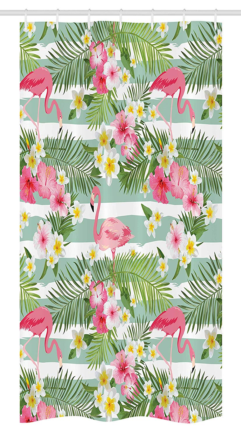 "Ambesonne Flamingo Stall Shower Curtain, Flamingos with Exotic Hawaiian Leaves Flowers on Striped Vintage Background, Fabric Bathroom Decor Set with Hooks, 36"" X 72"", Green Pink"
