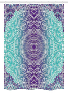 Ambesonne Purple and Turquoise Stall Shower Curtain, Hippie Ombre Mandala Inner Peace and Meditation with Ornamental Art, Fabric Bathroom Decor Set with Hooks, 54 W x 78 L Inches, Purple Aqua