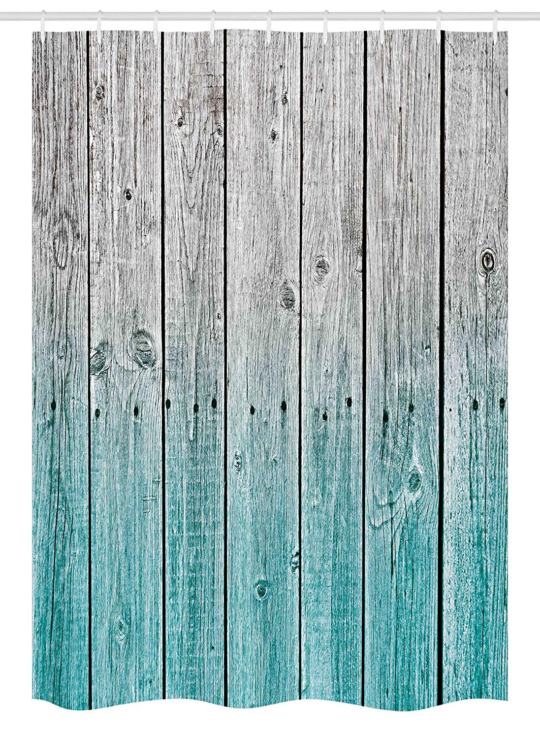 "Ambesonne Rustic Stall Shower Curtain, Wood Panels Background with Digital Tones Effect Country House Art Image, Fabric Bathroom Decor Set with Hooks, 54"" X 78"", Teal Grey"