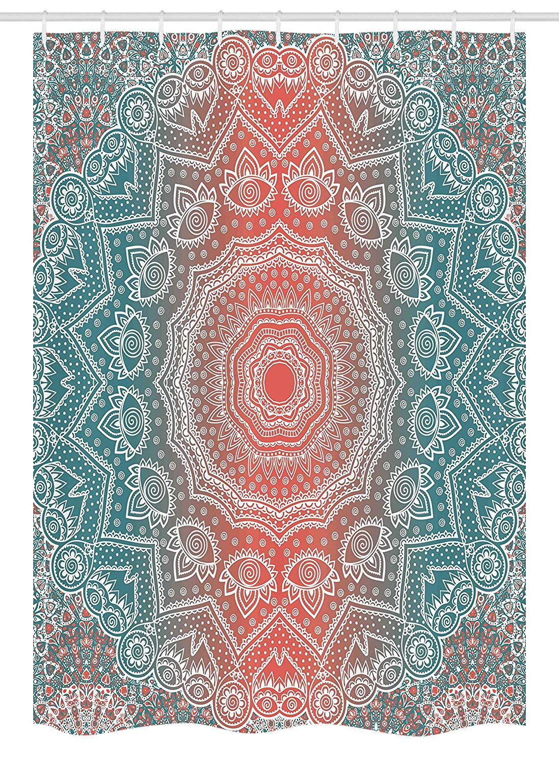 "Ambesonne Coral and Teal Stall Shower Curtain, Modern Tribal Mandala Tibetan Healing Motif with Floral Geometric Ombre Art, Fabric Bathroom Decor Set with Hooks, 54"" X 78"", Coral Teal"