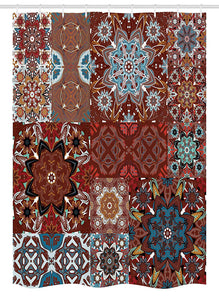 "Ambesonne Victorian Stall Shower Curtain, Classic Victorian Floral Motives and Mandala Pattern, Fabric Bathroom Decor Set with Hooks, 54"" X 78"", Burgundy Brown"