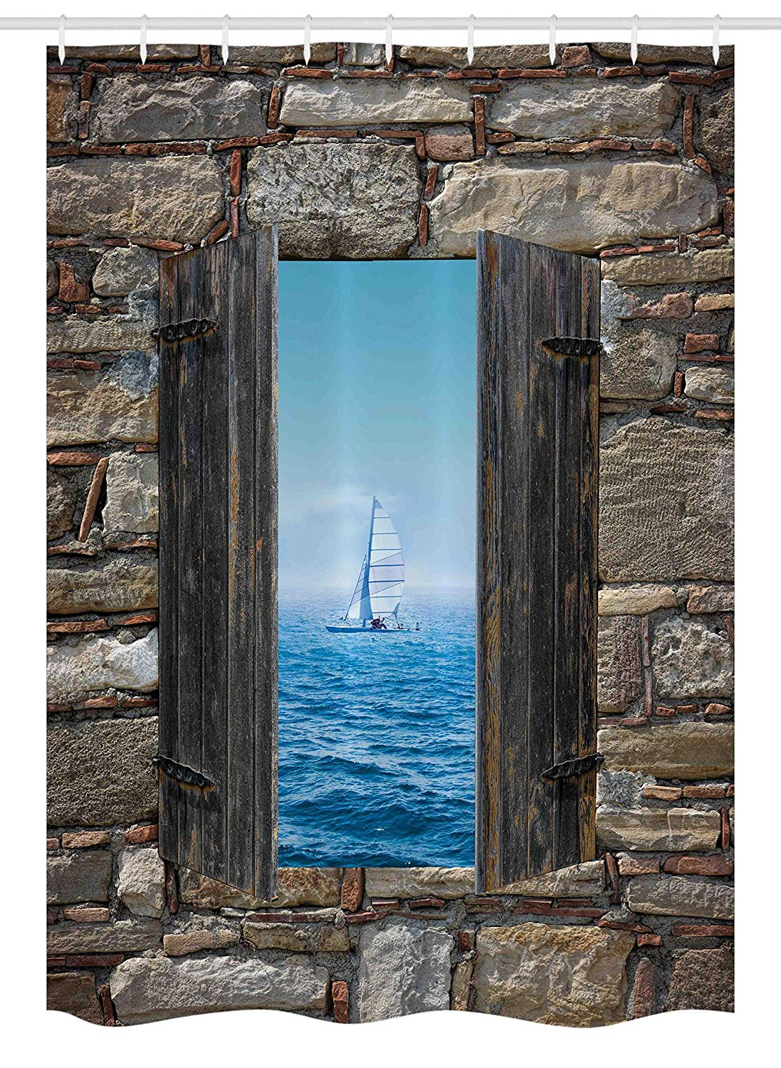 "Ambesonne Nautical Stall Shower Curtain, Image of a Sailing Boat from Stone Window Narrow Perspective Idyllic Mediterranean, Fabric Bathroom Decor Set with Hooks, 54"" X 78"", Turquoise Brown"