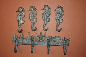 5), Seahorse Towel Hook Set of 5, Free Shipping, Cast Iron Bronze-look Seahorse Bath Towel Hook Set, Vintage-look,  H-32,N-25