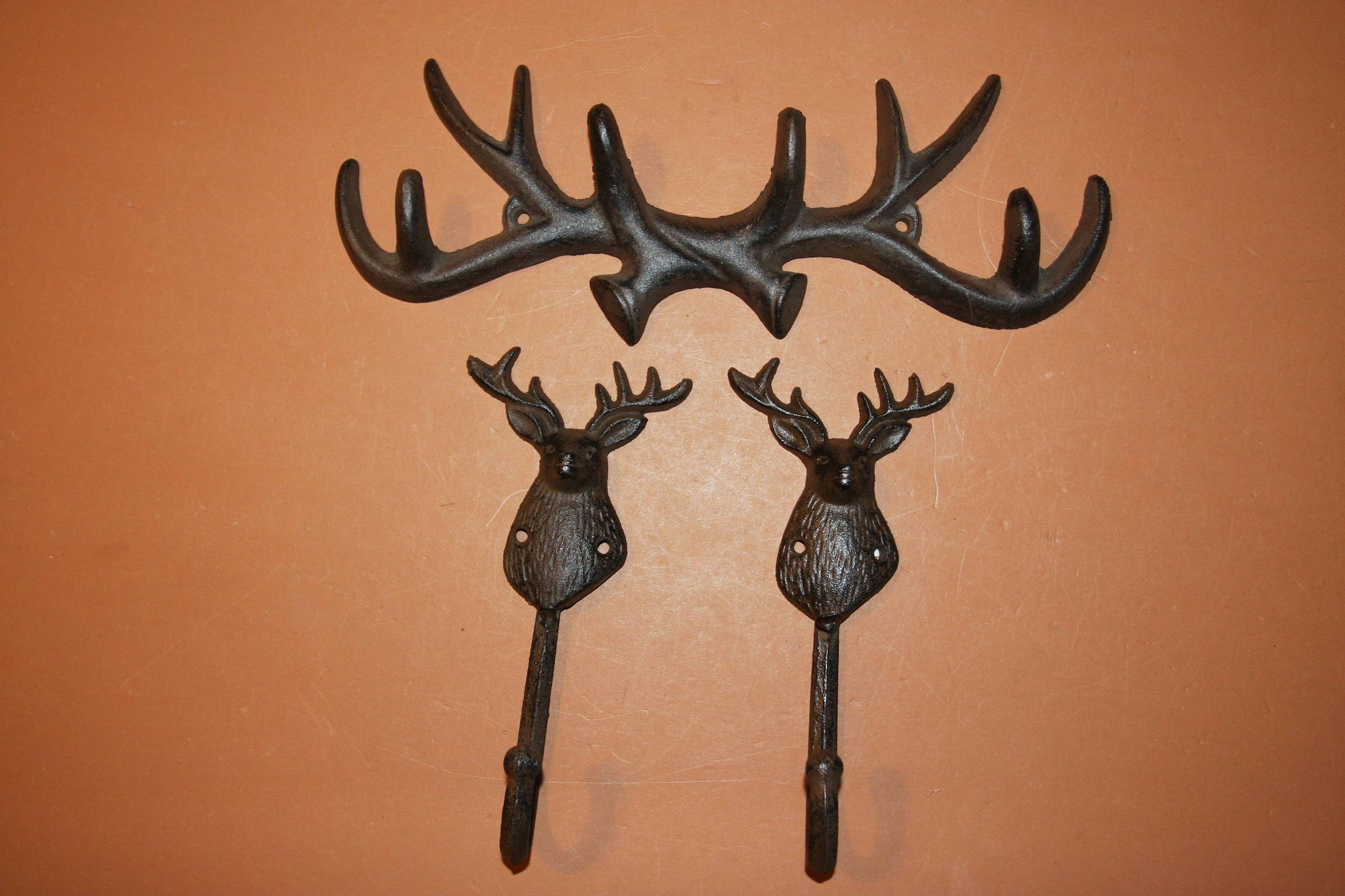 3) Deer Hunter Bathroom Decor, Free Shipping, Antler Towel hooks, Deer Hunter Towel hooks, Rustic Cast Iron Antler, W67/W36
