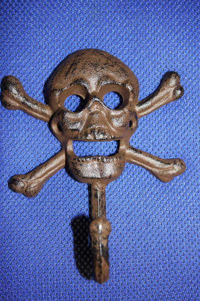 Biker Club Gift, skull and crossbone towel hook, skull bath decor, cast iron skull wall hook, biker wall decor, free shipping, H-66