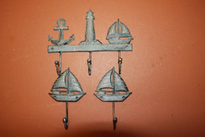 3) Sailboat Design Home Decor, Antique-look Sailboat Lighthouse Anchor Wall Hooks, Sailing Bath Decor Towel Hooks, Free Shipping