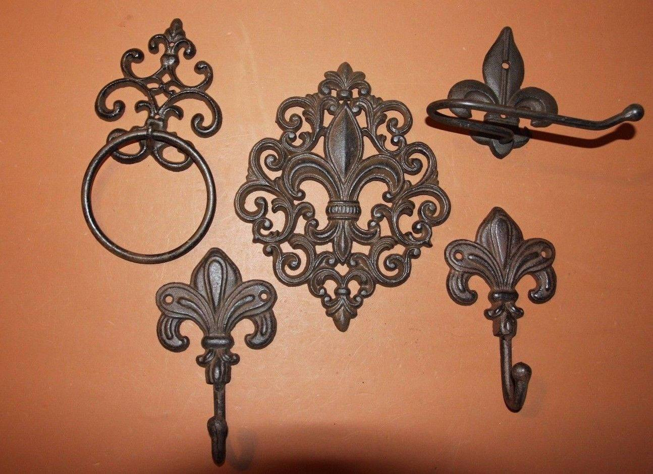 Classic Fleur De Lis Vintage Design Cast Iron Bath Accessories, Toilet Paper Holder, Towel Ring, Towel Hooks, Monroe, Set of 5