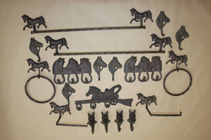 20) Rustic Horse Theme Bath Decor, Towel Bar, TP Holder, Towel Ring, Towel Hooks, Cast Iron, 20 pieces, Georgetown, Free Ship