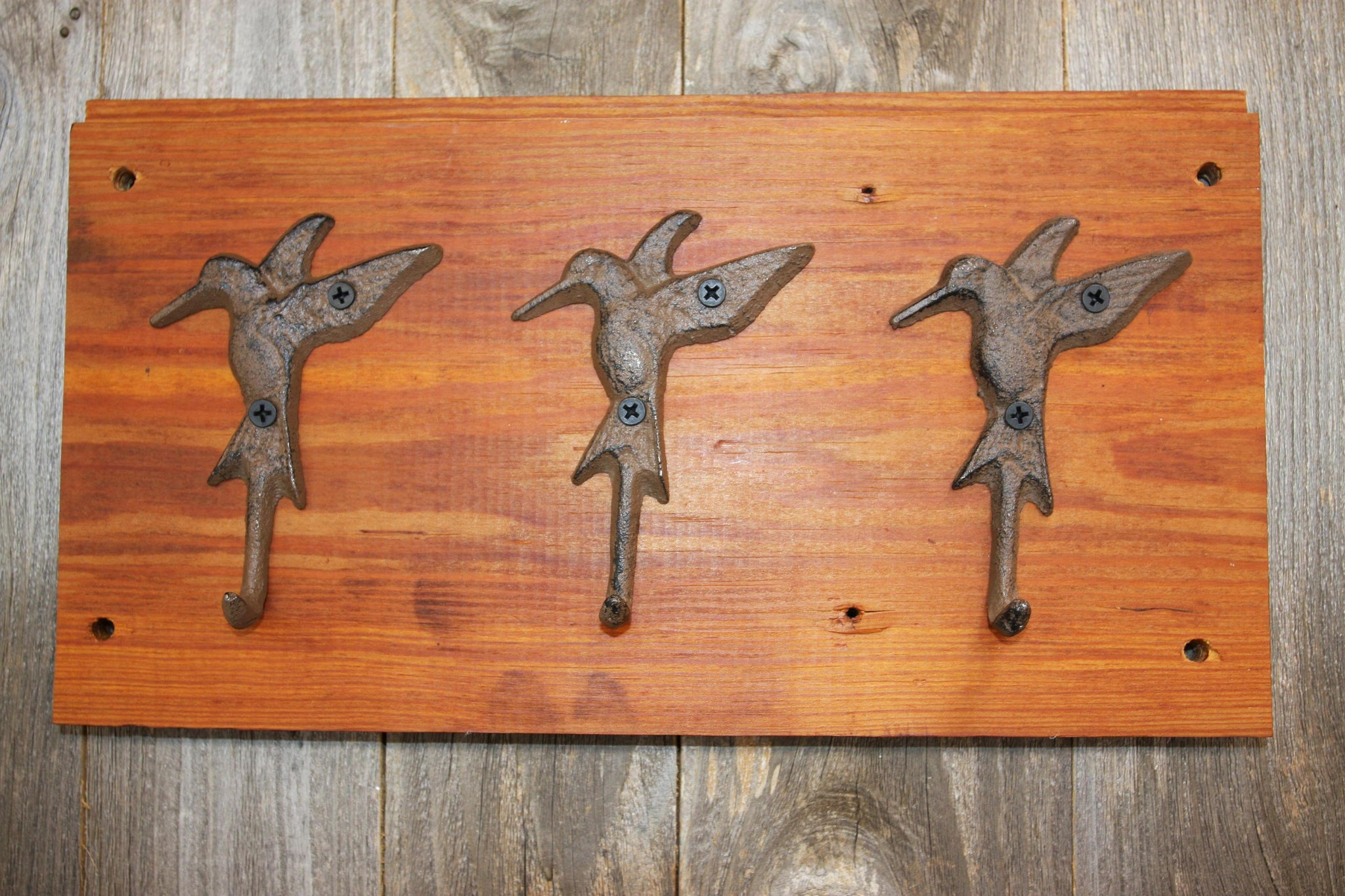 Country Cottage Bath Towel Hooks Hummingbird Garden Design, Handmade in USA,  Reclaimed 100 Year Old Wood, The Country Hookers, CH-7