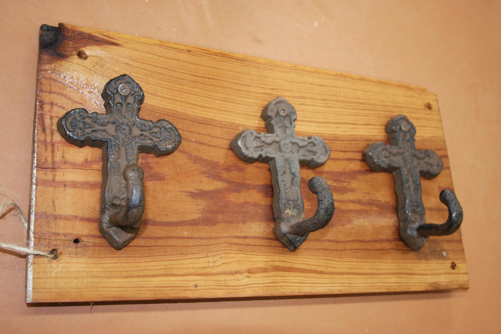 Old World Mission Cross Bath Decor Bath Towel Hooks, Handmade in USA, Cast Iron, 100 Year Old Wood, The Country Hookers, CH-9