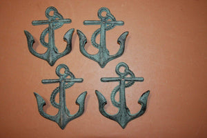 "Antiqued Look Cast Iron Anchor Wall Hooks, Anchor Towel Hooks. Anchor Coat Hat Hooks, Bronze Look, 5 3/4"" high, BL-65"