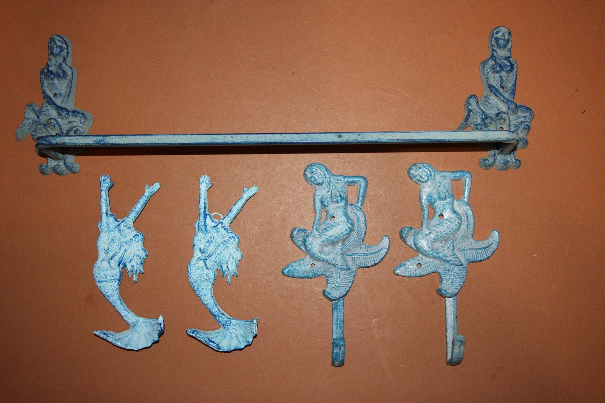 5) Antique Style Mermaid Bath Decor, Aqua color cast iron Mermaid Towel Bar Rack Mermaid Towel Bathrobe Wall Hooks, Set of 5,  MM