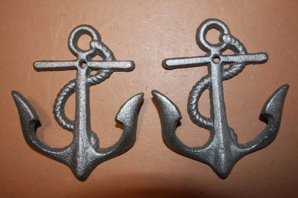 Cast Iron Anchor Wall Hooks, Anchor Towel Hooks, Anchor Kitchen Hooks, Rustic Vintage look anchor decor,  5 3/4 inches,  N-19
