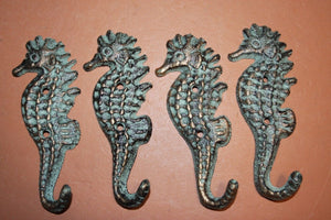 "She Shed Beach Cottage Sealife Towel Hooks, Seahorse Ocean Nautical Bath Decor, Bronze Look Cast iron, 5 1/4"" high, N-25"