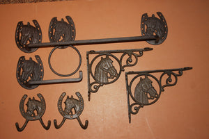 7) Vintage Look Horse Bathroom Decor Accessory Set of 7 Cast Iron Towel Bar Ring, TP Holder, Bath Shelf Brackets, Towel Hooks, 1-H