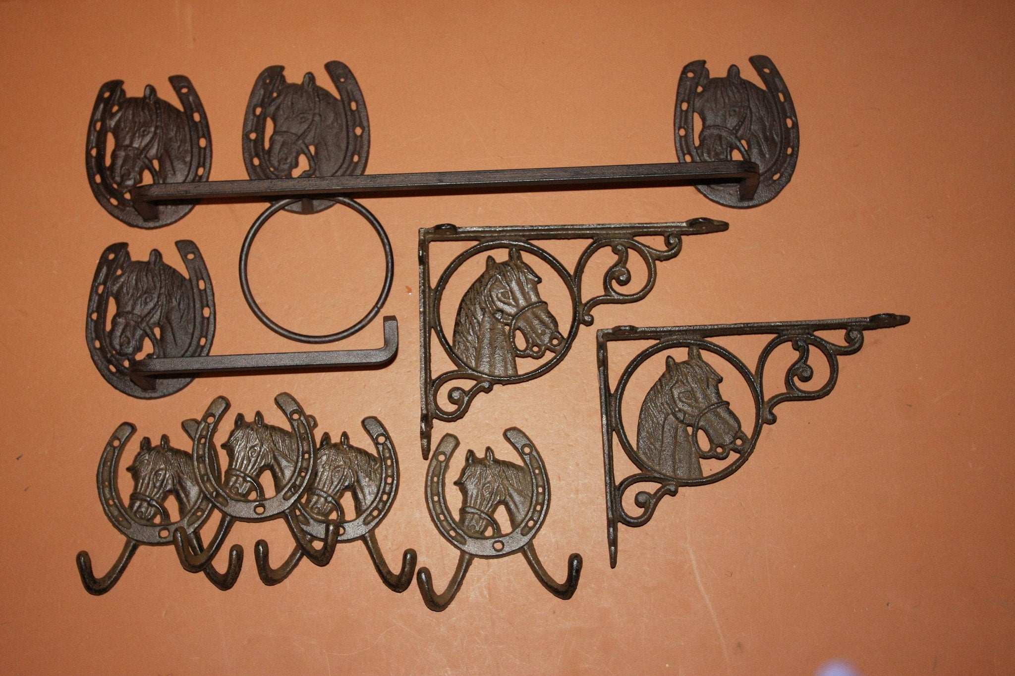 9) Rustic Western Horse Bath Accessories Cast Iron Set of 9 Towel Bar Ring TP Holder Towel Hooks Bath Shelf Brackets, 2-H