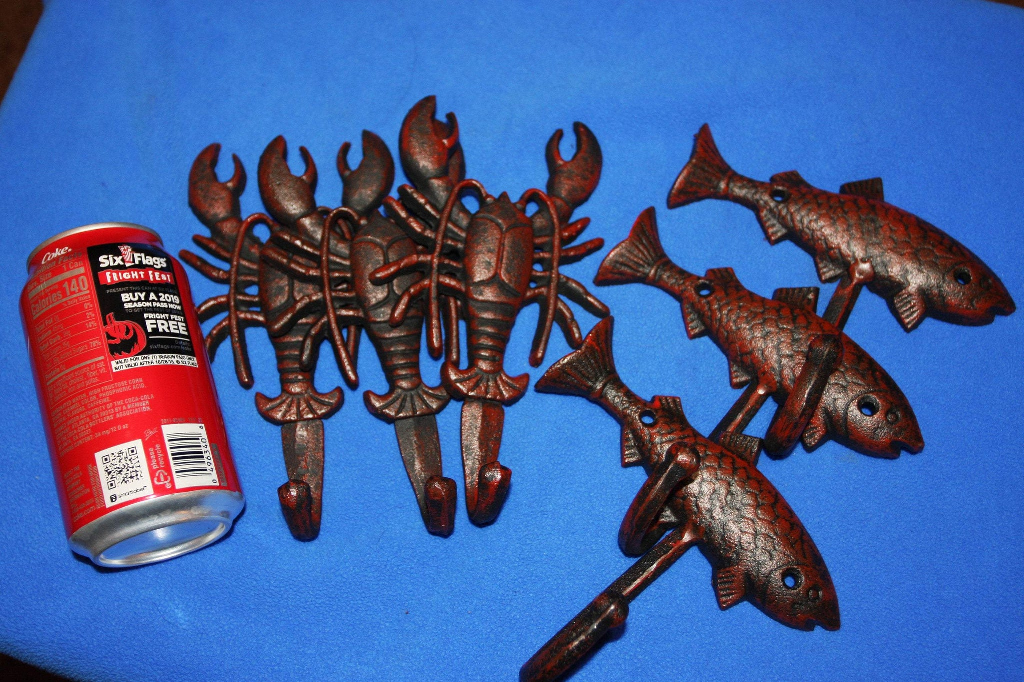 6) Cajun Kitchen Crawfish Towel Hooks Red Bronze Look Cast Iron, Redneck Lobster Mudbugs Redfish Towel Hooks