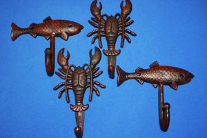 4) Crawfish Towel Hooks Red Bronze Look Cast Iron Fish Wall Hooks