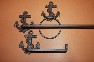 3) Boat Captain Gift Anchor Bathroom Decor Solid Cast Iron Towel Bar Rack, Towel Ring, Robe Towel Hooks, Toilet Paper Holder