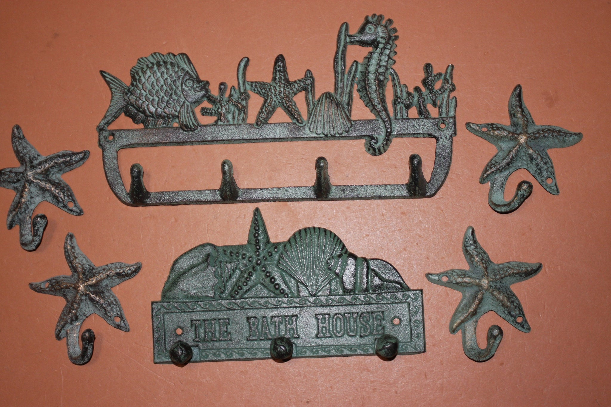 6) Nautical Bath House Bronze Look Cast Iron Towel Robe Purse Wall Hooks, Sea Breeze