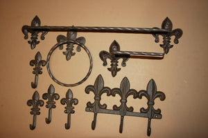 8) Cajun Creole Bath Decor Vintage Look Cast Iron Bathroom Accessories, Towel Rack Bar Wall Hooks, TP Holder, Euro Cellection