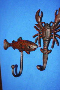 2) Redneck Lobster Towel Hooks Red Bronze Look Cast Iron Fish Wall Hooks