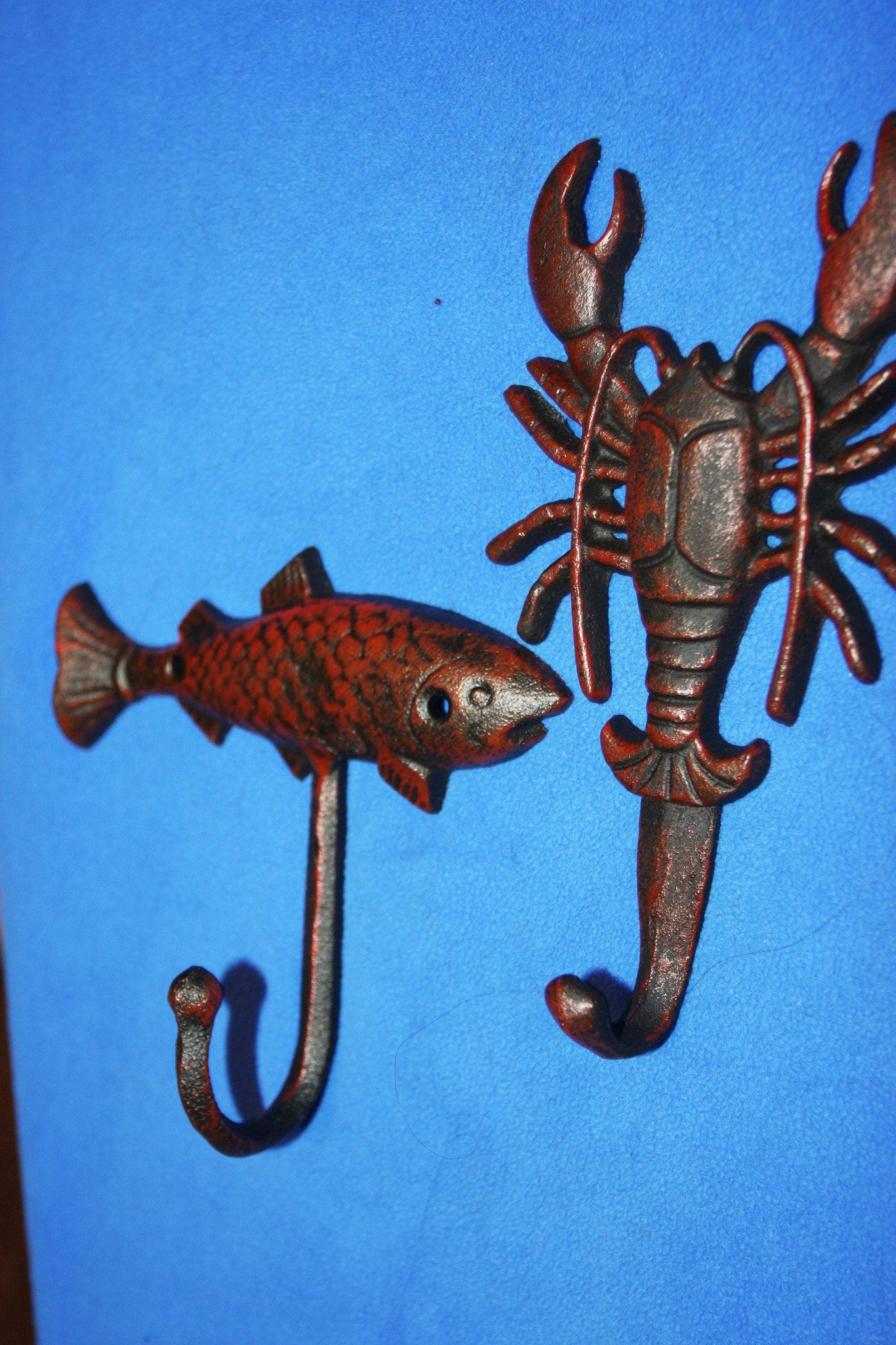 2) Vintage Look Seafood Towel Hooks Red Bronze Look Cast Iron, Lobster Fish Wall Hooks