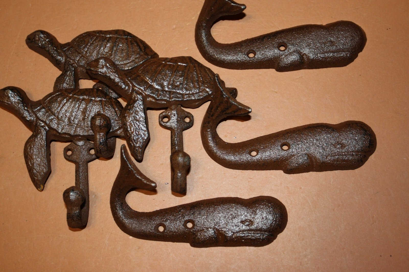 6) Rustic Nautical Beach house Bathroom Decor ~ Cast Iron Sea Turtle & Whale Towel Hooks Set,  H-102 103