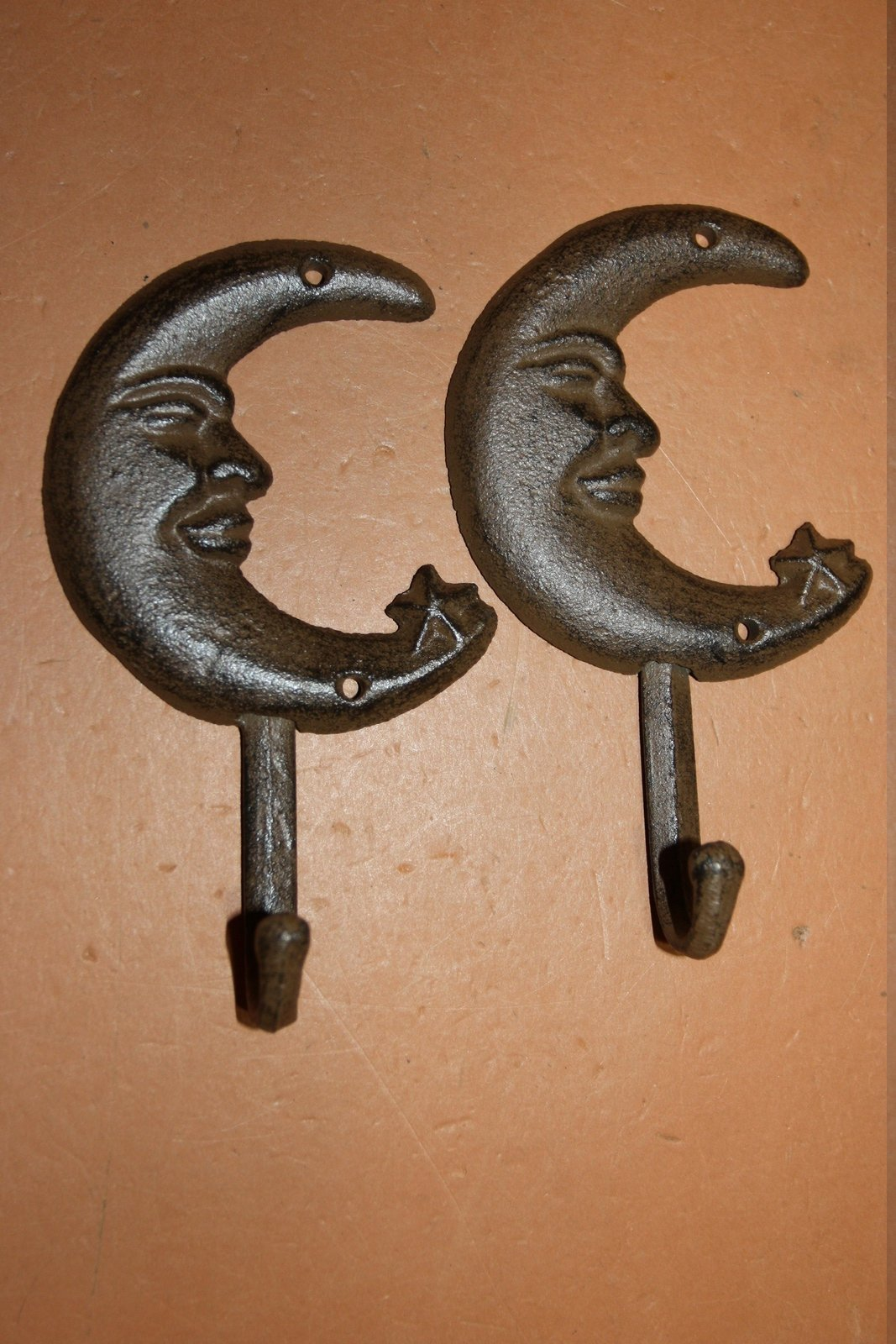 2) Vintage Look Man In The Moon Bathroom Decor Cast Iron Towel Hooks 6 1/2 inch high Volume Priced ~ Sleepy Time ~ H-16