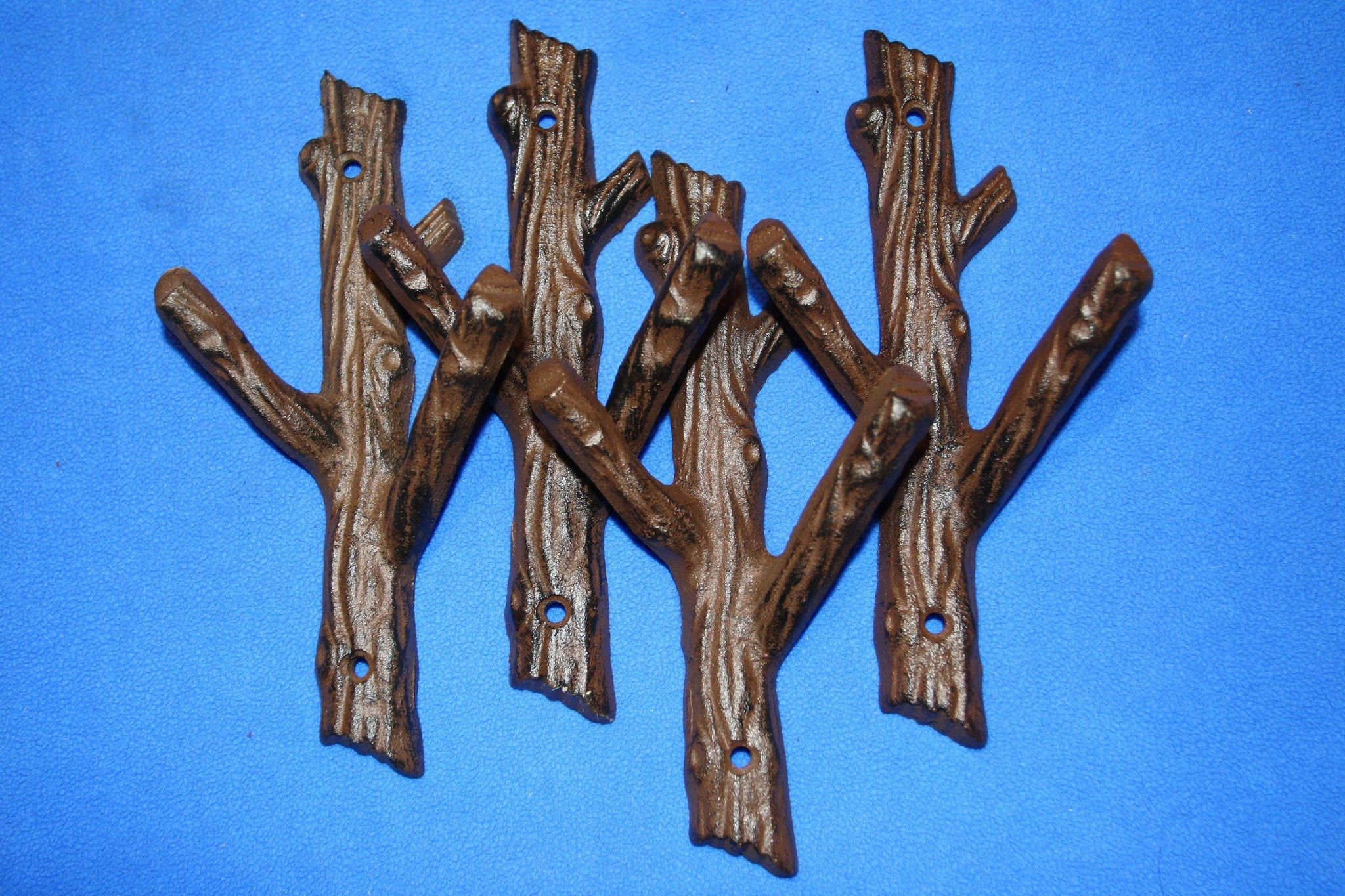 "4) Cabin Bathroom Decor, Tree Branch Towel Hooks, Cast Iron, 7 1/2"" tall, Set of 4, H-42"