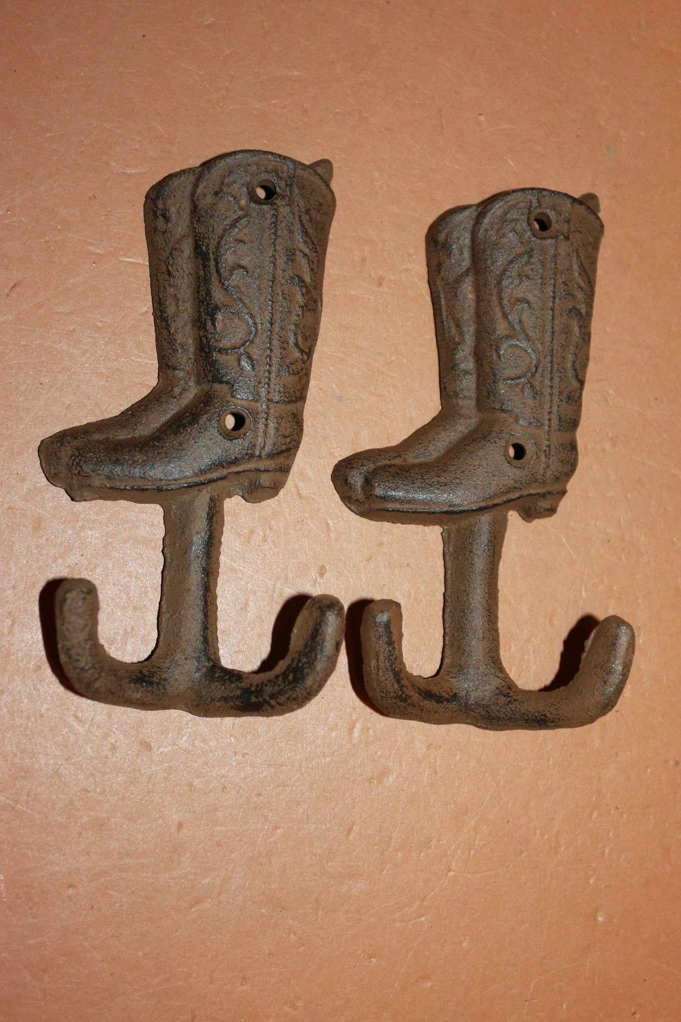 Cowboy Boots Towel Hooks, 5 1/4  inch Rustic Cast Iron, Volume Priced, W-19