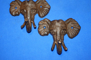 2) Savanna Bathroom Decor Elephant Bath Towel Hooks Cast Iron,  5 inch Set of 2,  H-40
