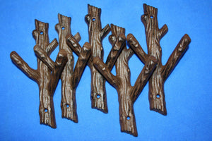 "5) Rustic Nature Bathroom Decor, Tree Branch Towel Hooks, Cast Iron, 7 1/2"" tall, Set of 5, H-42"