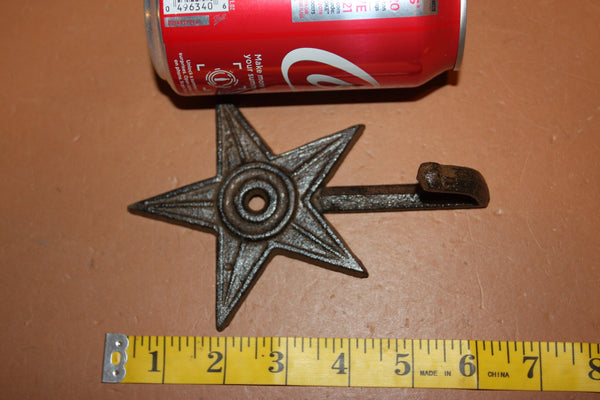 Rustic Northern Star Bathroom Decor Cast Iron Towel Hooks 6 inch W-2