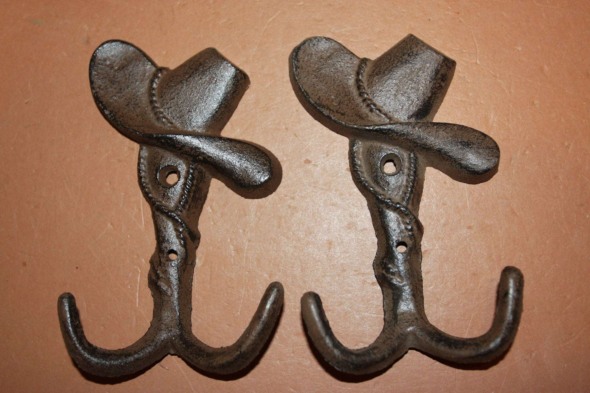 Country Western Towel Hooks Cast Iron 4 7/8 inch Cowboy Hat Farm Barn Ranch Decor, Volume Priced, W-6