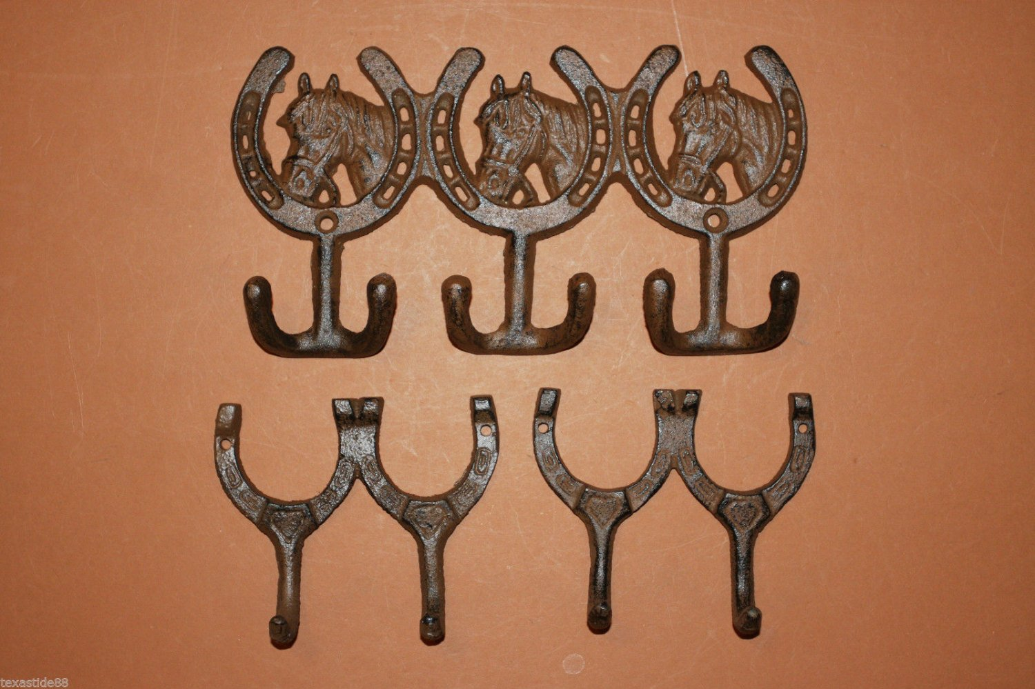 3)pcs, Country Western Kitchen Decor, Western Kitchen Decor, Horseshoe decor, kitchen towel hook, rustic, brown, W-30, 2/W-9