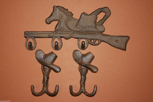 3)pcs, Western bath decor, free shipping, western wall hooks, western towel hook, western  decor, horse,cowboy,rustic, W-7,2/W-6
