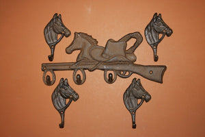 5) pcs, Cowboy bath decor, country western cowboy bathroom towel hooks, horse towel hooks, cast iron,  Free Shipping, W-12,18
