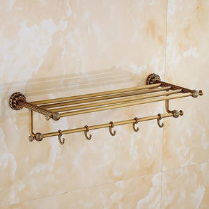 Bathroom Shelves 5 Towel Hooks Brass 2 Tier Rails Towel Bars Wall Shelf Bath Hangers Bathroom Accessories Towel Holder Fe8601