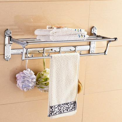 Bathroom Shelves Solid Brass Golder Wall Mount Folding Bath Shelf Towel Bars Rack Home Deco Luxurious Towel Hooks Holder Og522